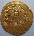 A BYZANTINE GOLD SOLIDUS OF MAURICE TIBERIUS