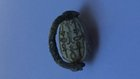 A CANAANITE HYKSOS PERIOD STEATITE SCARAB WITH ATTACHED BRONZE RING