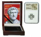 ANTONINUS PIUS ROMAN DENARIUS IN NGC CERTIFIED SLAB BOX (LOW GRADE)